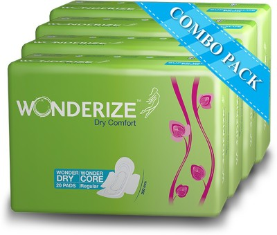 Wonderize Dry Comfort 230 mm - 20 pads (Combo of 4) Sanitary Pad(Pack of 20)