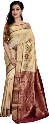 Avik Creations Applique, Paisley, Embroidered, Woven, Embellished, Self Design Kanjivaram Handloom Silk, Art Silk, Tussar Silk, Banarasi Silk Saree(Beige)