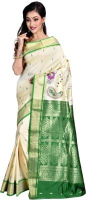 Avik Creations Applique, Paisley, Embroidered, Woven, Embellished, Self Design Kanjivaram Handloom Silk, Banarasi Silk, Tissue Silk, Art Silk, Tussar Silk, Poly Art Silk Saree(Cream, Green, Gold)