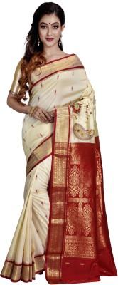 Avik Creations Applique, Paisley, Embroidered, Woven, Embellished, Self Design Kanjivaram Handloom Silk, Art Silk, Tussar Silk, Banarasi Silk Saree(Cream)