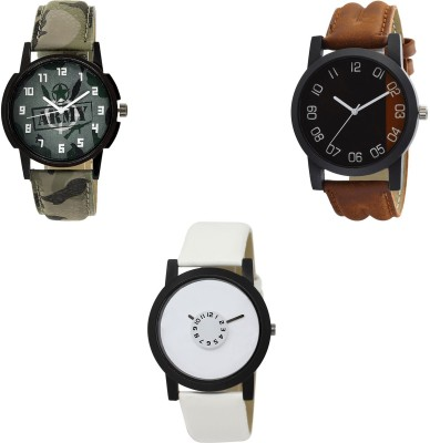 NEUTRON New Casual army Green And Brown And White Color 3 Watch Combo (B21-B36-BL46.26) For Boys And Men New Unique Combo Watch  - For Boys