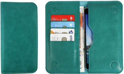 Emartbuy Wallet Case Cover for Multilaser MS60Z(Turquoise Plain, Dual Protection, Artificial Leather)