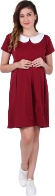 MomToBe Women's Shift Maroon Dress