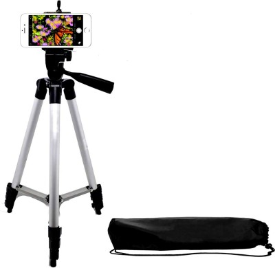 BUY GENUINE New arrival Tripod-3110 Portable Adjustable Aluminum Lightweight Camera Stand With Three-Dimensional Head & Quick Release Plate For Canon Nikon Sony Cameras Camcorders and mobile holder Tripod(Silver & Black, Supports Up to 1500)  available at flipkart for Rs.999