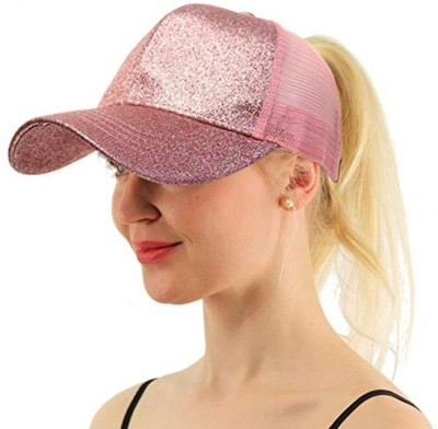 DALUCI Women Ponytail Messy Buns Trucker Ponycaps Plain Baseball Visor Hat - Light Pink Cap Cap
