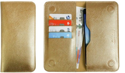 Emartbuy Wallet Case Cover for Multilaser MS60Z(Metallic Gold Plain, Dual Protection, Artificial Leather)
