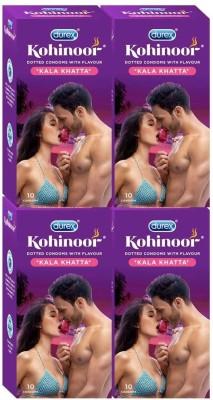 Durex Kohinoor Kala Khatta Love Special, 10X4=40 (Concealed/Confidential Packaging) Condom(Set of 4, 40S)