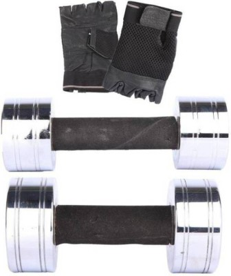 N.VCOMMUNICATION24X7 3 KG STEEL DUMBBELL PAIR WITH GYM GLOVES Fixed Weight Dumbbell (6 kg) Gym & Fitness Kit