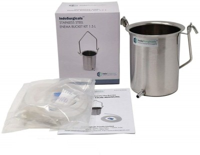 IndoSurgicals Enema Bucket Kit 1.5 Liter with Silicone Tubing Medical Equipment Combo