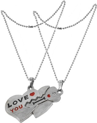 Men Style 2pcs love YOu And Key Heart Shape Couple Jewelry With 2 Ball Chain Zinc, Alloy Pendant Set