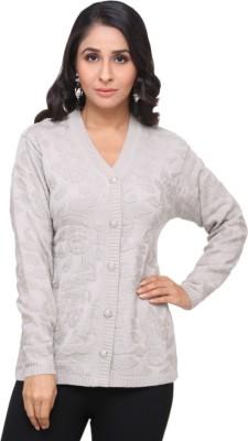 Modeve Self Design V-neck Casual Women Grey Sweater
