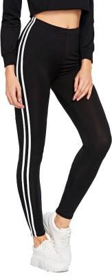 Shocknshop Solid, Striped Women Black Tights