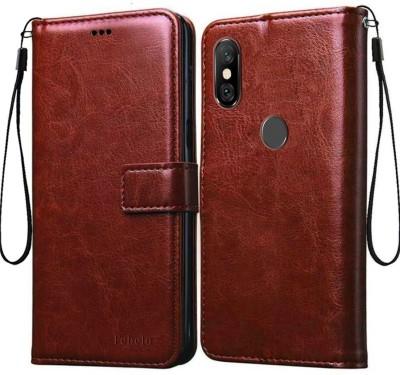 Febelo Flip Cover for Mi Redmi Note 6 Pro(Brown, Hard Case)