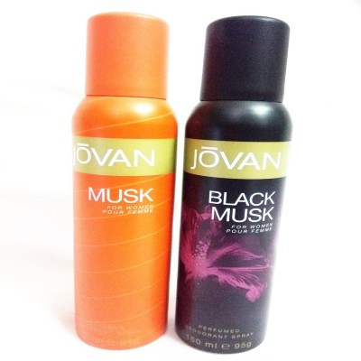 Jovan BLACK MUSK AND MUSK Body Spray  -  For Women(300 ml, Pack of 2) Flipkart