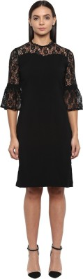 Park Avenue Women Fit and Flare Black Dress