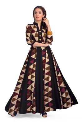 Madhuram textiles Women Self Design Flared Kurta(Multicolor)