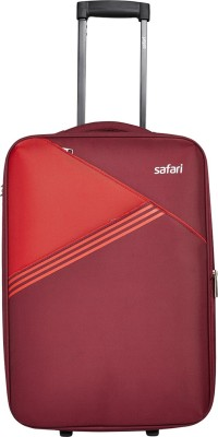 Safari ANGLE 56 2W RED SUITCASE TROLLEY Expandable Cabin Luggage   22 inch Safari Suitcases