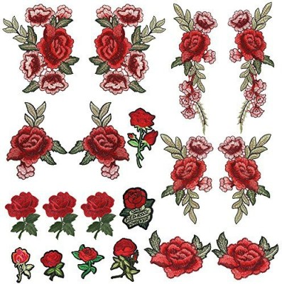 PP OPOUNT Opount 19 Pieces Embroidered Patches Sew On Patch Applique And Iron On Rose Patch Embroidered Flower For Diy Clothing, Jeans