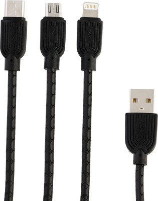 DigiTrends 3 in 1 flat fast charge USB Type C Cable(Mobile, Tablet, Black, Sync and Charge Cable)