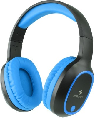 Zebronics THUNDER BUILT IN FM RADIO,SUPPORTS microSD,AUX FUNCTION Bluetooth Headset with Mic(Blue, Over the Ear)