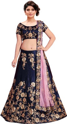 Siddeshwary Fab Embroidered Semi Stitched Lehenga, Choli and Dupatta Set(Dark Blue, Gold) at flipkart