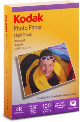 "Kodak High Gloss 4R 180 GSM ( 102 x 152 mm) Photo Paper For a Lifetime of MEMORIES 100 Sheets (set of 1) Unruled 4R (4""x6"") Photo Paper(Set of 1, White)"