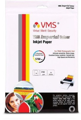 VMS Imperial Colour High Glossy Inkjet Photo Paper A4 240 GSM (20 Sheets) Unruled A4 Inkjet Paper(Set of 1, White)