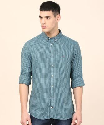 Tommy Hilfiger Men Checkered Casual Green Shirt