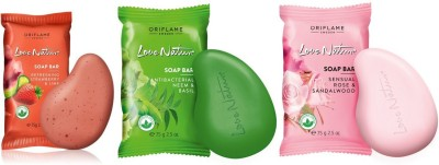 Oriflame Sweden Love Nature Soap Bar Set of 3 (Refreshing Strawberry & Lime, Antibacterial Neem & Basil, Sensual Rose & Sandalwood)(3 x 75 g)