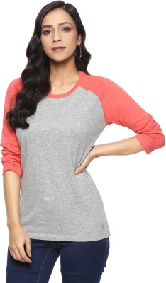 Billion Perfect Fit Solid Women Round Neck Grey, Orange T-Shirt