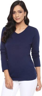 Billion Perfect Fit Solid Women V-neck Dark Blue T-Shirt
