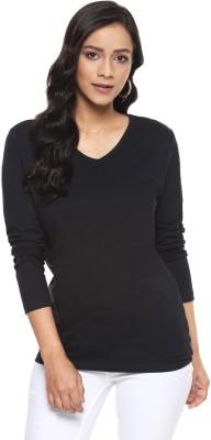 Billion Perfect Fit Solid Women V-neck Black T-Shirt