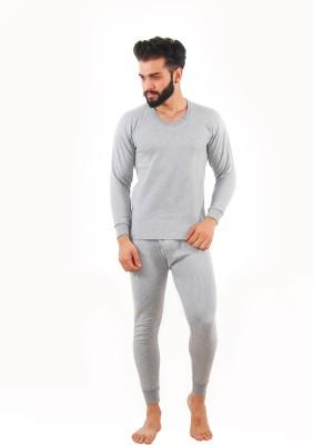 Yorker Grey Full Sleeves Men Top - Pyjama Set Thermal