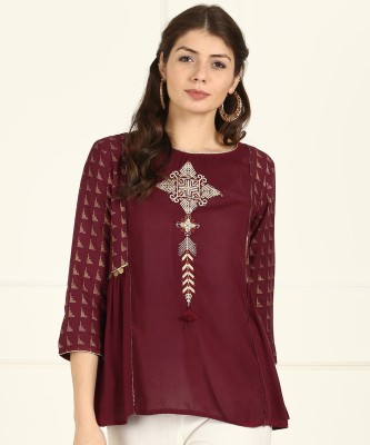 W Casual 3/4th Sleeve Embroidered Women
