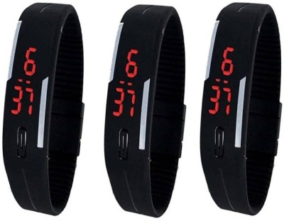 faas Digital Rubber Magnet Led Set Of 3 Watches Watch  - For Men & Women