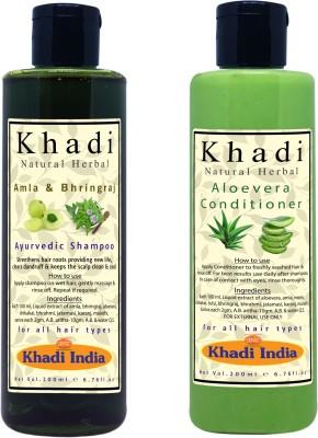 khadi natural herbal Paraben Free Amla-Bringraj Shampoo and Aloevera Conditioner Combo Pack (Each 200 ml)(2 Items in the set)