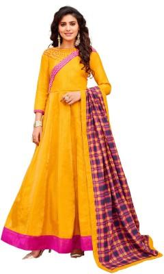 Pervious Fashion Anarkali Gown(Yellow)