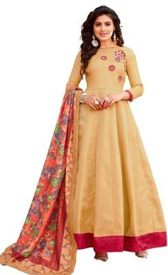 Pervious Fashion Anarkali Gown(Beige)