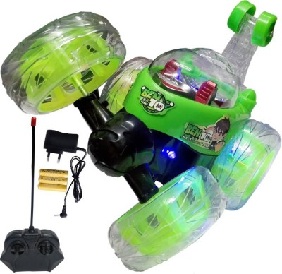 Ben 10 Rechargeable Stunt Car Big Size 360 Degree Rotating Remote Control (Green)(Green)