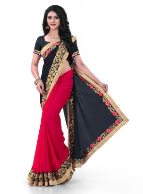 Kuki Fashion Embroidered Daily Wear Poly Georgette Saree(Red, Black)
