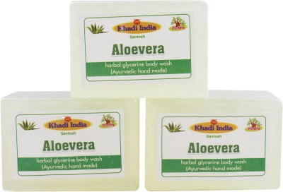 Khadi India Santosh Aloevera Harbal Glycerin Body Wash Soap (Ayurvedic Hand Made) (Pack of 3)(3 x 125 g)