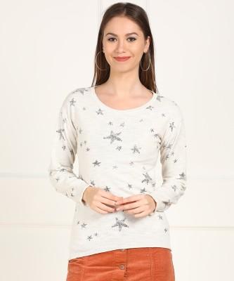 Aeropostale Printed Round Neck Casual Women Beige Sweater at flipkart