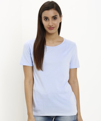 Marks & Spencer Solid Women Round Neck Blue T-Shirt