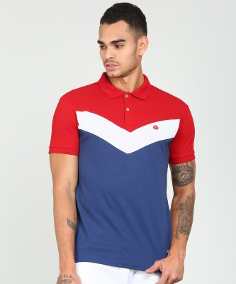 Peter England University Solid Men Polo Neck Red, Blue T-Shirt