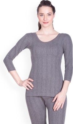 Lux Inferno Charcoal Melange 3 Quarters Round Neck Long Women Top Thermal Lux Inferno Women's Thermals