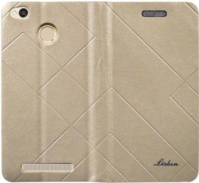 Coverage Flip Cover for Mi Redmi 3S Prime Gold