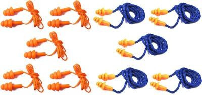 Vezual Corded Reusable (5 Pair) & 3M 1270 Corded Reusable (5 Pair) for Noise Reduction Ear Plug(Orange, Blue)