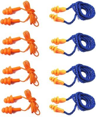 Vezual Reusable Corded (4 Pair) & 3M 1270 Reusable Corded (4 Pair) for Noise Reduction Ear Plug(Orange, Blue)