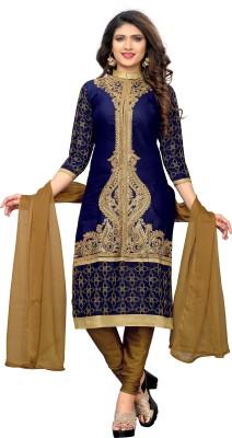 Fabland Cotton Silk Blend Embroidered, Embellished Semi-stitched Salwar Suit Dupatta Material