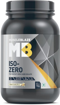 MuscleBlaze Iso-Zero, Zero Carb 100% Whey Isolate Whey Protein(1 kg, Dutch Vanila)